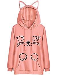 VEMOW Herbst Frühling Cote Design Mädchen Frauen Katze Langarm Hoodie  Sweatshirt mit Kapuze Täglichen Casual Workout 6729b2f3aa