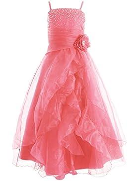 FAIRY COUPLE Vestido de Fiesta en Cascada Cristalina del Organza de diamante artificial Para Ni?as Chicas K0136