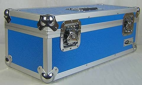 "7"" 45's Single Singles ALUMINIUM STORAGE STRONG CASE VINYL RECORD BLUE DJ TOUGH 300 Secure lockable Collector Collection Box"