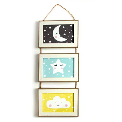 Babyzimmer Deko Bilder Kinderzimmer Poster Junge Mädchen gerahmt und fertig zum aufhängen - Motiv Mond Wolke Stern