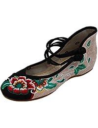 Uirend Zapatos Tradicionales Chinos Mujer - Las Mujeres de la Lona del Bordado de la Flor