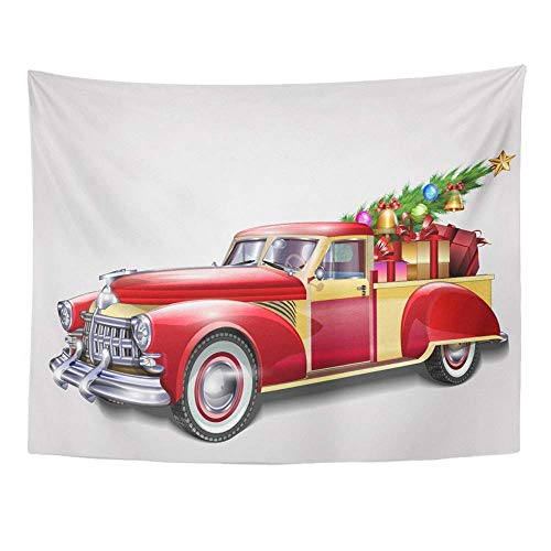 Wall, Tapestry Wall Hanging, Red Car Retro Pickup with Christmas Tree and Truck 1950S Holiday Vintage 1960S 60