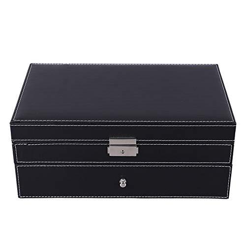 WEN 2 Schichten Schmuck und Uhr Aufbewahrungsbox mit Manschettenknopf Box und Schublade