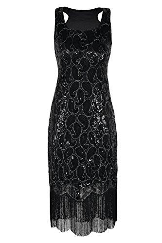 kayamiya Damen 1920er Paillette Paisley Muster Franse Gatsby Kostüm Flapper-Kleid L Schwarz