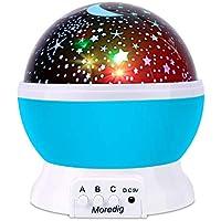 Moredig 360 Grados Rotación Proyector Lámpara Estrellas, Romántica luz de la Noche y 8 Modos, Regalo Para Niños y Bebés Cumpleaños, Día de los Reyes, Navidad, Halloween etc - Azul