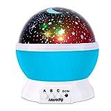 Moredig Sternenhimmel Projektor, 360° Rotation LED Sternen Nachtlicht Lampe, Sternenlicht Projektor mit 8 Farbige Lichter, Perfektes Geschenk für Baby & Kinder - Blau