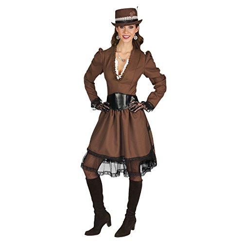 Elbenwald Steampunk Lady Kostüm 2tlg. Kleid mit Gürtel braun - ()