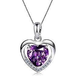 """Damen Halskette 925 Sterling Silber mit Herz Anhänger mit SWAROVSKI Herzkette, Ein Symbol der """"Mein Herz ist bei dir"""", Geschenk für Freundin Damen (Lila)"""
