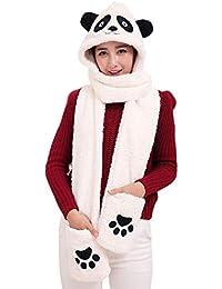 Landove Ensemble Bonnet Echarpe Gant Femme Fille Mode Mignon 3 en 1 Écharpe  Châle à Chapeau 9983d6479d0