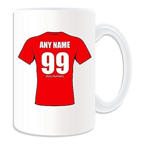 Personalisiertes Geschenk, großer Salford Red Devils Tasse (Rugby League Club Design Thema, weiß)–alle Nachricht/Name auf Ihre einzigartige Tasse