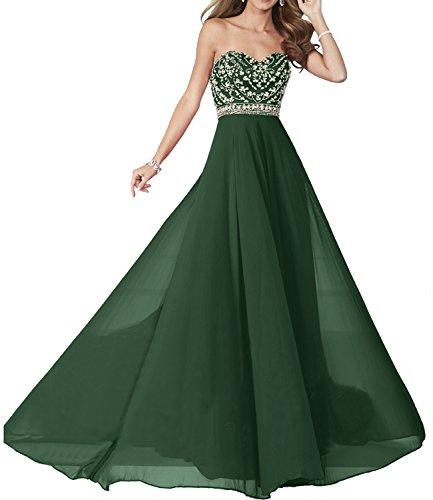 Milano Bride Elegant Rot Elegant Chiffon langes Chiffon Damen Abendkleider Partykleider Festliche Kleider Dunkel Gruen