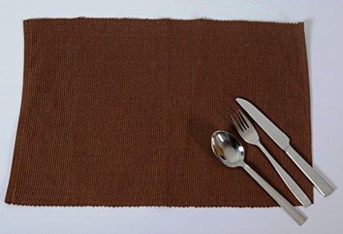 Edle Baumwolle Platzmatten für 4 oder 6 Personen in verschiedenen Farben). XXL Tischset ca. 48x33cm groß und waschbar. Moderne Designer Baumwolle Tischmatten bzw. Tischunterlagen als tolles Platzset für Ihr Esszimmer (6 Stück, Braun)