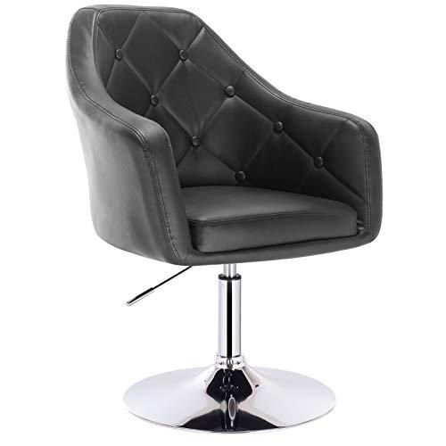 Woltu® poltroncina da bar nera grigia sedia da scrivania girevole regolabile sgabello cucina poltrona con schienale braccioli moderno