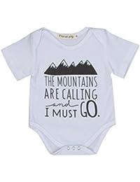 Longra Camisa infantil del mono del mameluco de la letra del bebé del verano