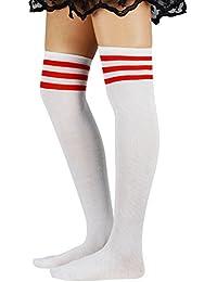 Durio Damen Baumwolle Dünn Über Knie-Lange Overknee Socken Sportsocken Kniestrümpfe Strümpf mit 3 Streifen