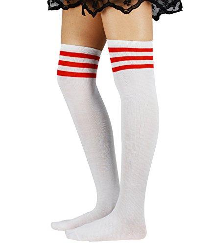 Durio Damen Baumwolle Dünn Über Knie-Lange Overknee Socken Sportsocken Kniestrümpfe Strümpf mit 3 Streifen Weiß und Rot Streifen One Size