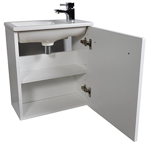 Small Compact Gloss White 450cmm Cloakroom Vanity Unit including tap Wall Hung Slim Basin and Lux2 Basin Mixer