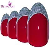 Faux Ongles Bling Art Rouge Argent Stiletto 24 Longue Faux bouts d'ongles acrylique avec colle
