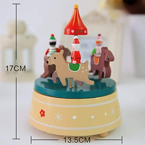 Design roFemmetique rotatif boîte à musique de Noël décoration de la maison en bois boîte à musique rotative pour enfants enfants meilleurs jouets cadeaux   2019