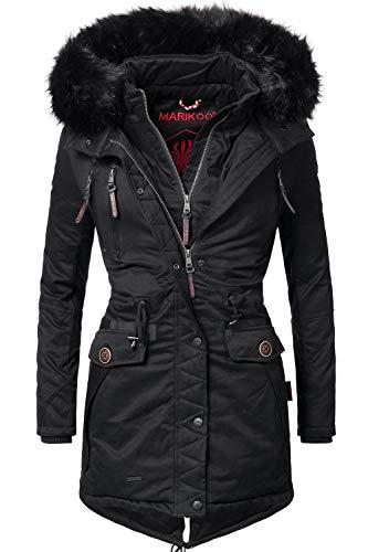 Marikoo Damen Winter Mantel Winterparka Rose (vegan hergestellt) Schwarz Gr. S -