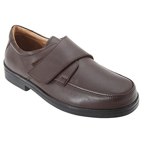 Roamers Herren Schuhe mit Klettverschluss, breite Passform Braun