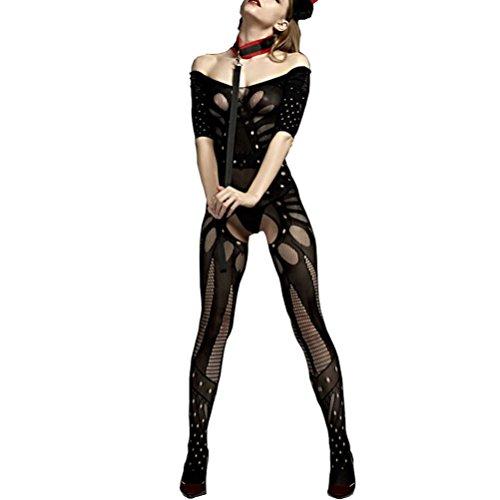 V-Ting Sexy unterwäsche Dessous Damen erotik Set Netz durchsichtiges Bodystocking Bodysuit Catsuit Nachtwäsche