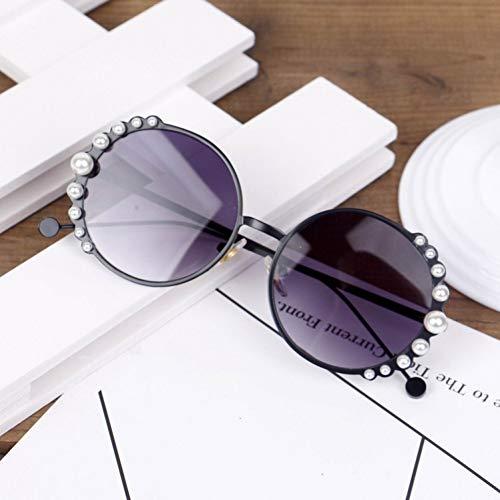 sijiaqi Kinder Sonnenbrillen Neue Perlen Mode Baby Mädchen Sonnenbrille Uv400 Runde Objektiv Eyewear 3-9 Jahre Goldene Kinder Oculos,Black