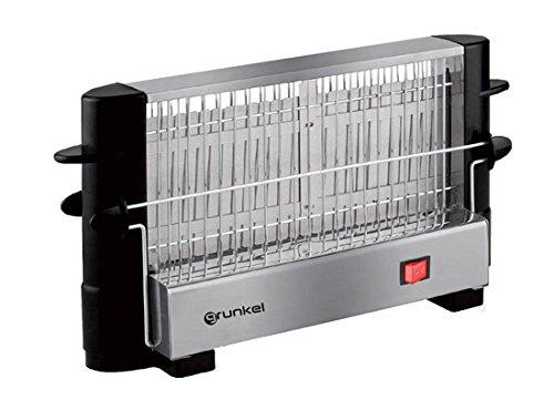 Grunkel - Tostador vertical para todo tipo de pan en acero inoxidable de 750W de potencia. Capacidad de hasta 4 rebanadas de pan de molde. Incluye 2 barras agarradoras de tacto frío. Modelo TSV-F2