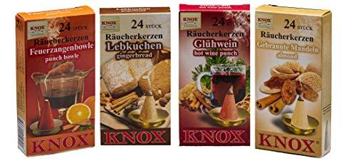 Knox 4er Räucherkerzen Set Weihnachtsmarkt - Lebkuchen + gebrannte Mandel + Glühwein + Feuerzangbowle - Größe: M - 96 Stück - Made in Germany