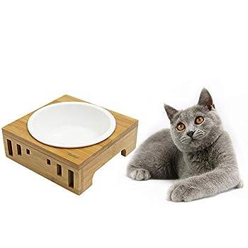 Petilleur Bol Céramique pour Chat et Chien Gamelle Haute pour Chat et Petit Chien avec Support en Bambou (1 Bol, Céramique)