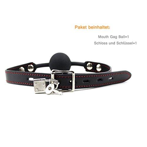 Hisionlee BDSM Mouth Gag Ball Interchange Silikon Ball Gag mit Sperre Schlüssel (Schwarze Kugel-Linie) - 2