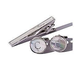 Idea Regalo - Set fermacravatta e gemelli da uomo placcato platino, con madreperla, personalizzabile con lettera dell'alfabeto A-Z, base metal, colore: C, cod. MOPTCSA-Z