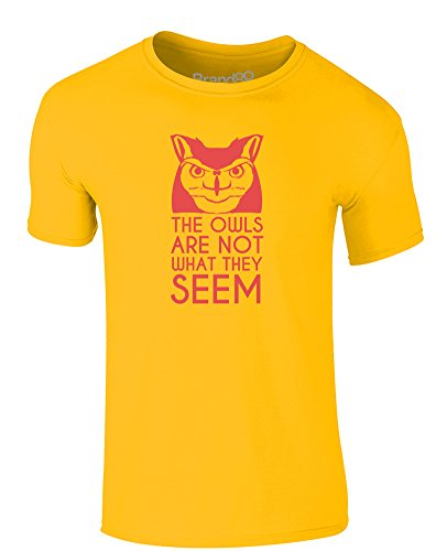 Brand88 - The Owls Aren't What They Seem, Erwachsene Gedrucktes T-Shirt Gänseblümchen-Gelb