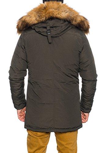 Warme HUSARIA Canada Dry Herren Winterjacke Mantel Parka Jacke Kapuze mit echt Fell 7003 Eyecatcher !!! Khaki 1