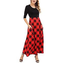FISOUL De las Mujeres Manga Larga Vestido de Cuadros Cintura del Imperio Longitud Total Vestido Maxi con Bolsillos Rojo y Negro XL