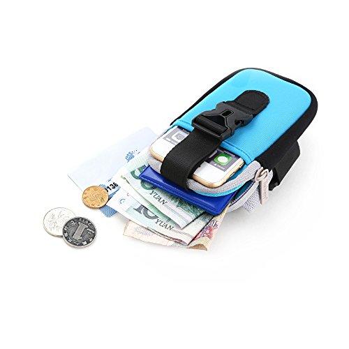 Sport Sportarmband Tasche Doppel Taschen für Handy Halter Tasche Gürtel Gym Arm Tasche Grün