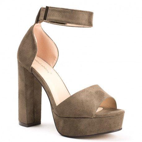 Ideal Shoes - Sandales à plateforme effet daim Hugoline Taupe