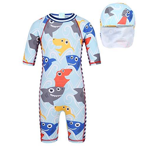 inhzoy Kinder Badeanzug UV-Schutz Bademode Einteiler Schwimmanzug mit Bademütze Hai/Krabbe Druck Gr.92-122 Shark 116-122/6-7 Jahre