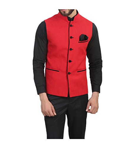 ManQ Men's Band Collar Slim Fit Party/Casual Waist Coat
