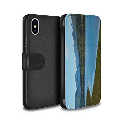 Stuff4 Coque/Etui/Housse Cuir PU Case/Cover pour Apple iPhone X/10 / Montagnes/Loch Design / Campagne Écossais Collection Loch/Vallée
