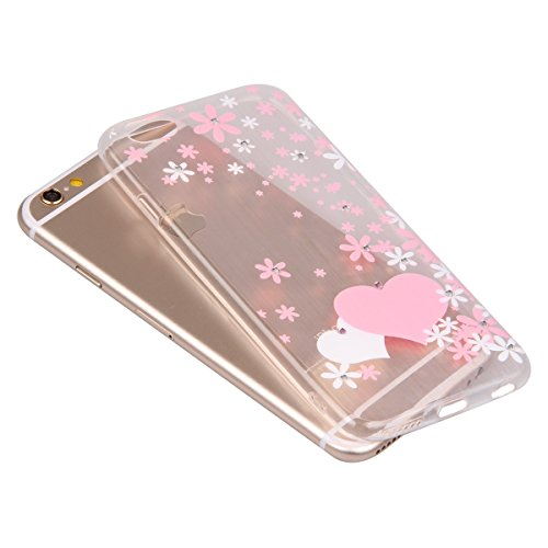iPhone 6S Case,iPhone 6 Cover, Felfy Apple iPhone 6 / 6S 4.7 inch Rosa weiße Blume Muster Intarsien Shiny Funkeln Diamant Design Ultra Dünne weiche TPU Gel Silikon Transparent Clear Crystal Klar zurüc Rosa Muster #5
