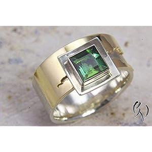 Breiter Ring aus Silber 925/- und Gold 750/- mit grünem Turmalin