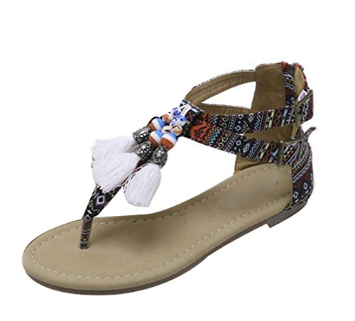 Lvraoo donne sandali dolci infradito con perline etnico sandali boho con nappe scarpe da spiaggia estive (rosso, asia 36)