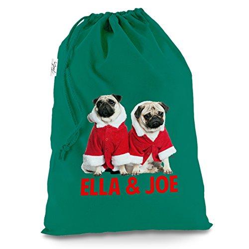 Personalisierte Weihnachts-Mops tragen Santa Kostüm X-Large Grün Luxus Weihnachten Santa Sack (North Pole Elf Kostüm)