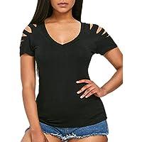 CICIYONER Camiseta Casual Corta de Manga Corta para Mujer Camiseta con Cuello en V Sólida Blusa