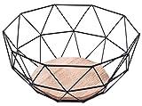 Filo di metallo geometrico nero base in legno decorativo Storage/display cesto portafrutta