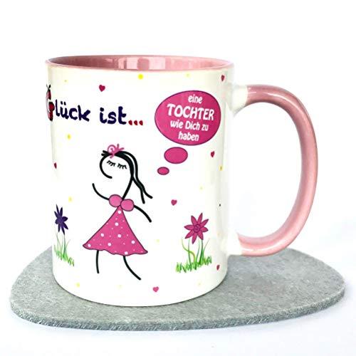 UKo-Art® Geschenke zu Ostern für Kinder, Tasse Ostern, Erwachsene, Geschenk Tochter, Tasse rosa, Glück ist eine Tochter wie Dich zu haben, versandfertig (Kinder-spülmaschinenfest Tassen)