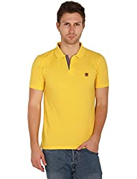 UNI COLORS POLO T-Shirts For Men's In Jhony Collar Pattern Half Sleeves Smart Fit For Ultimate Youth(OLD GOLD)