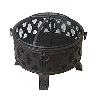 Adeco FP0012 28 Inches Cover Fire Pit, Antique Bronze
