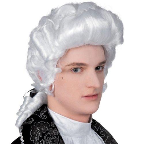 WOOOOZY Perücke Barock Herr mit Zopf, weiß (1600 Herren Kostüm)